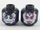 Part No: 3626cpb2062  Name: Minifigure, Head Dual Sided Alien Female with White Face, Green Eyes and Purple Marks on Cheek / Red and Silver Armor Pattern - Hollow Stud