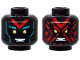 Part No: 3626cpb2556  Name: Minifigure, Head Dual Sided Alien, Yellow Eyes, Red 'V', Dark Turquoise Eyebrows, Happy / Angry with Red Splotch Face Pattern - Hollow Stud
