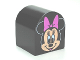 Part No: 3664pb17  Name: Duplo, Brick 2 x 2 x 2 Curved Top with Minnie Mouse Pattern
