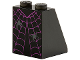 Part No: 3678bpb114  Name: Slope 65 2 x 2 x 2 with Bottom Tube with Dress with Magenta Spider Web and 2 Dark Bluish Gray Spiders Pattern