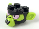 Part No: 38458pb01  Name: Minifigure, Head Modified, Mojo Jojo with Lime Ears and Face, Pink Eyes Pattern