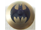 Part No: 3960pb017  Name: Dish 4 x 4 Inverted (Radar) with Solid Stud with Black Bat on Gold Background Batman Logo (Bat Signal) Pattern