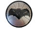 Part No: 3960pb035  Name: Dish 4 x 4 Inverted (Radar) with Solid Stud with Black Bat on Silver Background Batman Logo (Bat Signal) Pattern