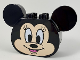 Part No: 39921pb01  Name: Duplo, Brick 2 x 4 x 2 Rounded Ends and Mouse Ears, Light Flesh Minnie Mouse Face Pattern