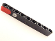 Part No: 40490pb022  Name: Technic, Liftarm 1 x 9 Thick with Red Stripe and Filler Cap Pattern (Sticker) - Set 8645