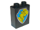 Part No: 4066pb186  Name: Duplo, Brick 1 x 2 x 2 with Shield - Lion and Crown on Yellow and Blue Background Pattern