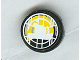 Part No: 4150pb053  Name: Tile, Round 2 x 2 with Headlamp Yellow and Black Pattern (Sticker) - Set 8277