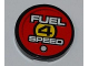 Part No: 4150pb088  Name: Tile, Round 2 x 2 with 'FUEL 4 SPEED' on Red Background Pattern (Sticker) - Set 8126