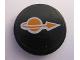 Part No: 4150pb130  Name: Tile, Round 2 x 2 with Orange Classic Space Logo Pattern (Sticker) - Set 7693