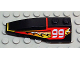 Part No: 41748pb014  Name: Wedge 6 x 2 Left with Red/Yellow/White Flame and 99 Pattern