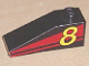Part No: 4286pb005  Name: Slope 33 3 x 1 with Yellow Number 8 on Red Stripes Pattern Model Left (Sticker) - Set 8818