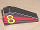 Part No: 4286pb006  Name: Slope 33 3 x 1 with Yellow Number 8 on Red Stripes Pattern Model Right (Sticker) - Set 8818