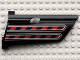 Part No: 44350pb011  Name: Technic, Panel Fairing #20 Large Long, Small Hole, Side A with Red / Black Diagonal Stripes Pattern (Sticker) - Set 8285