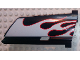 Part No: 44350pb026  Name: Technic, Panel Fairing #20 Large Long, Small Hole, Side A with White Flames with Red Border Pattern (Sticker) - Set 8682