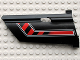 Part No: 44351pb010  Name: Technic, Panel Fairing #21 Large Long, Small Hole, Side B with Red / Black Diagonal Stripe Bent Pattern (Sticker) - Set 8285