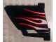 Part No: 44353pb24  Name: Technic, Panel Fairing #23 Large Short, Small Hole, Side B with White Flames with Red Border Pattern (Sticker) - Set 8682