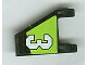 Part No: 44676pb002L  Name: Flag 2 x 2 Trapezoid with White Number 3 on Lime and Black Background Pattern, Model Left (Sticker) - Set 8356