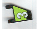 Part No: 44676pb002R  Name: Flag 2 x 2 Trapezoid with White Number 3 on Lime and Black Background Pattern, Model Right (Sticker) - Set 8356