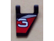 Part No: 44676pb003R  Name: Flag 2 x 2 Trapezoid with White Number 3 on Black, Red, and Silver Background Pattern, Model Right (Sticker) - Set 8381