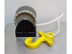 Part No: 4654c02  Name: Duplo Hose Reel Holder 2 x 2 with Light Gray Drum, Yellow Hook, String