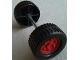 Part No: 47436c01pb03  Name: Duplo Wheel with Tread (30mm diameter) Double Assembly with Metal Axle (40mm) and Dark Red Classic Hub Pattern