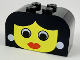 Part No: 4744px14  Name: Brick, Modified 2 x 4 x 2 Double Curved Top with Yellow Face, Woman Pattern