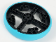 Part No: 49295c01  Name: Wheel Large Technic with Axle Hole and 28 Pin Holes with Fixed Medium Azure Rubber Tire