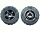 Part No: 50944c02  Name: Wheel 11mm D. x 6mm with 5 Spokes with Black Tire 17.5mm D. x 6mm with Shallow Staggered Treads - Band Around Center of Tread (50944 / 92409)