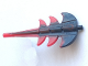 Part No: 51874pb02  Name: Dragon Tail Barbed with Marbled Red Pattern