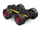 Part No: 54007c01pb01  Name: Duplo, Vehicle Car Base 2 x 6 with Four Black Wheels and Dark Red Hubs with Yellow Stripes Pattern