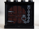 Part No: 60581pb025  Name: Panel 1 x 4 x 3 with Side Supports - Hollow Studs with Wooden Door and Chain Pattern on Inside (Sticker) - Set 10237