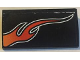 Part No: 61068pb018L  Name: Slope, Curved 2 x 4 x 2/3 without Bottom Tubes with Orange Flame Model Left Side Pattern (Sticker) - Set 8164