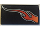 Part No: 61068pb018R  Name: Slope, Curved 2 x 4 x 2/3 without Bottom Tubes with Orange Flame Model Right Side Pattern (Sticker) - Set 8164