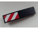 Part No: 61678pb059L  Name: Slope, Curved 4 x 1 No Studs with Large Red and White Danger Stripes Pattern (Large Red Corners) Model Left Side (Sticker) - Set 60026