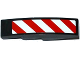 Part No: 61678pb082L  Name: Slope, Curved 4 x 1 with Red and White Danger Stripes Thin Pattern (White Corners) Model Left Side (Sticker) - Set 60075
