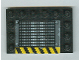 Part No: 6180pb010a  Name: Tile, Modified 4 x 6 with Studs on Edges with Grille and Black and Yellow Danger Stripes Pattern Side A (Sticker) - Set 6208