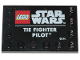 Part No: 6180pb129  Name: Tile, Modified 4 x 6 with Studs on Edges with Star Wars Logo and 'TIE FIGHTER PILOT' Pattern