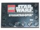 Part No: 6180pb130  Name: Tile, Modified 4 x 6 with Studs on Edges with Star Wars Logo and 'STORMTROOPER' Pattern