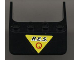 Part No: 6238pb01  Name: Windscreen 4 x 4 x 1 with Black 'R.E.S.' and Red 'Q' on Yellow Triangle Pattern (Sticker) - Set 6451