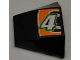 Part No: 64225pb003  Name: Wedge 4 x 3 No Studs with White Number 4 and White Line on Black and Orange Background Pattern (Sticker) - Set 8125