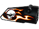 Part No: 64391pb025  Name: Technic, Panel Fairing # 4 Small Smooth Long, Side B with Red, Orange and White Flames and Skull with Sunglasses Pattern (Sticker) - Set 42046