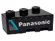 Part No: 6565pb22  Name: Wedge 3 x 2 Left with Medium Azure Stripe and White 'Panasonic' on Black Background Pattern (Sticker) - Set 76898