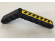 Part No: 6629pb024L  Name: Technic, Liftarm 1 x 9 Bent (6 - 4) Thick with Black and Yellow Danger Stripes Pattern Model Left Side (Sticker) - Set 8446