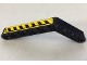 Part No: 6629pb024R  Name: Technic, Liftarm 1 x 9 Bent (6 - 4) Thick with Black and Yellow Danger Stripes Pattern Model Right Side (Sticker) - Set 8446