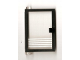 Part No: 73436c01pb07  Name: Door 1 x 4 x 5 Left with Trans-Clear Glass and 5 White Stripes Pattern (Sticker) - Set 6540
