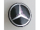 Part No: 75902pb06  Name: Minifigure, Shield Round with Rounded Front with Silver Mercedes-Benz Logo Pattern