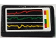 Part No: 85984pb224  Name: Slope 30 1 x 2 x 2/3 with Red, Green and Yellow Line Graphs and Buttons on White Background Pattern (Sticker) - Set 8185