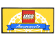 Part No: 87079pb0396  Name: Tile 2 x 4 with LEGO Logo and Blue Ribbon with White 'Amusements' on Yellow Background with White Ferris Wheel Pattern (Sticker) - Set 10244