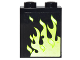 Part No: 87552pb018R  Name: Panel 1 x 2 x 2 with Side Supports - Hollow Studs with Green Flames Right Pattern (Sticker) - Set 4840