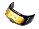 Part No: 87612pb01  Name: Glass for Aircraft Fuselage Curved Forward 6 x 10 Top with Blue Eyes and Gold Goggles Pattern